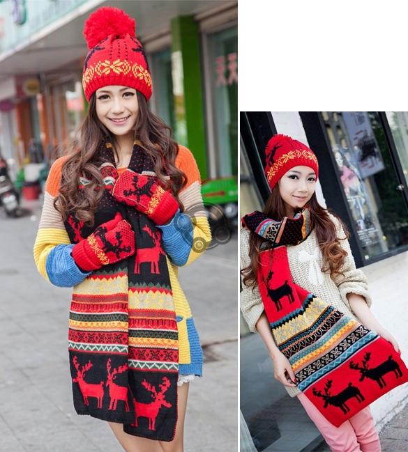 Stylish New Women Print Long Scarf Shawl + Ski Hat Set Ladies Sweet Deer Pattern Winter Warm Thickening Knitted Scarf Hat#(China (Mainland))