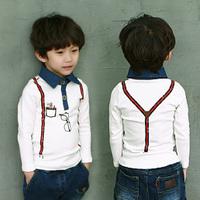 Children's clothing boys Pattern t-shirts Summer child's long-sleeved t-shirts boy lapel t-shirt