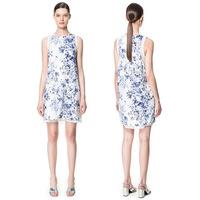 Hot sale 2015 New Fashion new China style sleeveless retro Ceramic print dress vestido round Neck casual women summer dress