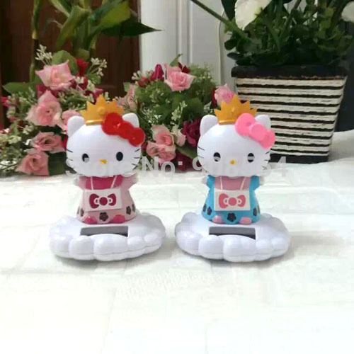 Wholesale 6 Pieces Per Lot Swing No Battery Novelty Car Decoration Flip Flap Solar Toys Solar Imperial Crown Hello Kitty(China (Mainland))