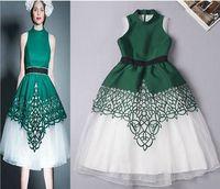 2015 Newest Women Summer Stand Collar Tank Dress Mesh Hollow Out Dress Europe Style Runway Dress S-L Free Shipping