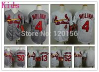 Kids St.Louis Cardinalses #4 Yadier Molina Baseball Jerseys Youth Cardinalses #13 Matt Carpenter  #52  Michael Wacha Jersey S-XL
