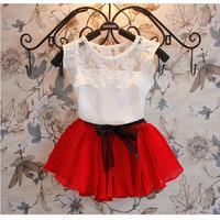 Summer girls clothing sets pleated lace t-shirt + skirt set children casual conjunto kids clothes suit kids sets C02