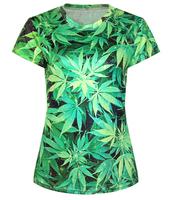 Fashion New Summer Harajuku Marijuana Leaf 3D Tops Tshirt Cartoon Print Weed Leaf T-shirt Woman T-shirt