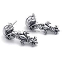 Jewelry Women's 316L Stainless Steel Titanium Rock N' Roll Skull Heart Cross Biker Earring M072789