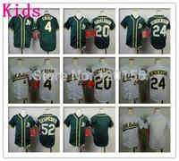 Kids Oakland Athletics #20 Josh Donaldson Baseball Jerseys Youth Athletics #24 Rickey Henderson Green #4 Coco Crisp Jersey