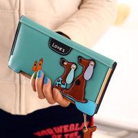 New2015 high quality Brand purse women clutch vintage wallet long zipper design dog badge print multi card day clutch wallets