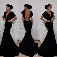 Sale 2015 Black Sexy Nightclubs Prom Club Women Deep V-Neck Backless Cocktail Night Party Dresses Long Dress Free Shipping