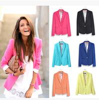 Blazer Women Clothing Feminino New 2015 Candy Color Suit Jackets One Button Slim Ladies Blazers Work Wear Blaser Feminino