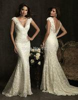 Sweet yet Cool Mermaid V Neck Sweep Train Lace Backless Cap Sleeves Wedding Dress