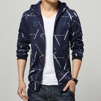 Hot-selling! 2015 New Men Fashion Classic Printing Hoodies Men Coat Hooded Casual Slim Cardigan Sweatshirts Men Free Shipping