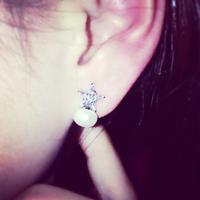 Korea fine zirconium created diamond pentagram earrings freshwater pearl pendant earrings