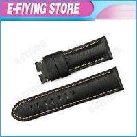 Pre-v Buckle Style !! Handmade 24mm Padded  Genuine Leather Watchband Strap for Panerai Mens Wrist Bracelet Belt Black Color