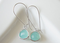 2015 New Style Silver Ice Mint Glass with Kidney Dangle and Drop Earrings Jewelry-Wedding For Woman and Ladies Free Shipping