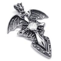 Jewelry 316L Stainless Steel Titanium Rock N' Roll Gothic Pterosaur Biker Necklace Pendant M072408