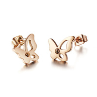 OPK 2 Pairs/Lot Women Butterfly Stud Earrings Fashion Romantic Rose Gold/Silver  Full Steel Jewelry 286