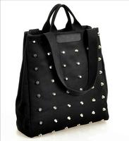 2015 New Fashion Women Canvas Handbag Rivet Shoulder Bag Vintage Bag Black Color 1