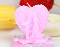 20pcs Pink Bride and Groom Kissing Rose Heart Shape Candle For Wedding Party Birthday Souvenirs Gifts Favor