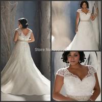 Vestidos De Novia Distinctive Design V-neck Crystals Short Sleeves Plus Size Wedding Dress 2015 Lace