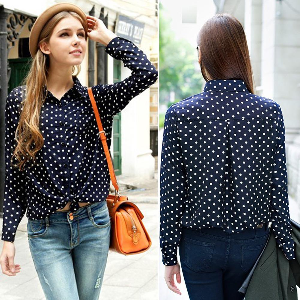 Nova moda sml Navy branco mulheres Shirt bolinhas Chiffon blusa Tops manga comprida grátis frete(China (Mainland))