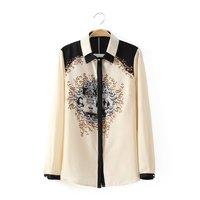 Blusas Femininas Chiffon Blouse Polyester Women tops Vintage Totem Print Turn-down Collar Long Sleeve Shirt Womens Clothing 2015