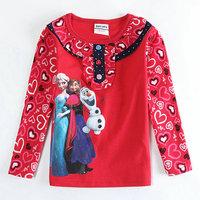 2015 New Spring Olaf Tops Tees Girls Princess T-shirt Baby Queen t-shirts 100% Cotton Printed tshirts Kids Cartoon Clothing
