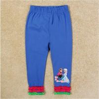 2015 New Design Fashion Clothing Girls Elsa & Anna Leggings Baby 100% Cotton Legging Princess Long pants Kids Printed Trousers