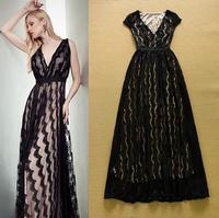 European Style 2015 Summer New Elegant Lady V-Neck Cap Sleeve Sexy Celebrity Party Long Maxi White Black Lace Crochet Dresses