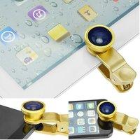 Universal 3 in 1 Fisheye-Lens + Wide Angle + Macro Lens Clip Camera Photo Kit For Smart Phones(Gold)