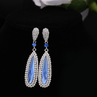 2015 New Women Fashion Full Rhinestone Crystal Long Dangle Drop Tassel Earrings Gold/Silver Luxury Wedding Jewelry Earring YK199