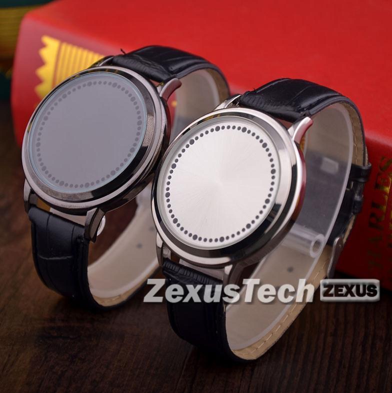 Свободного покроя мужчины синий из светодиодов бинарные сенсорный экран часы натуральная кожа до запястья часы для мужчины Relogio Masculino