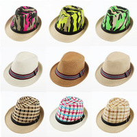 Children Summer Sun Hat Dance Baby Straw Fedora Hat Kids Jazz Cap Trilby Sunhat Boys Girls Top Hat 10pcs FH042