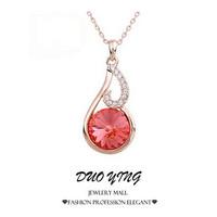 2015 Rock Long New Arrival Korea Style  Corrente Natural Sweet Collar Crystal Vintage Neckalce Pendants For Women