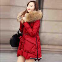 2014 Winter Thicken Warm Woman Down jackets Coat Parkas Outerweat Luxury Long Raccoon Fur collar Hooded 90% White Duck XL Black