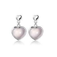 Gemstone Earrings Christmas Gift 100% Sterling Silver Jewelry Romantic Nature Pink Ross Quartz Lovely Heart Stud Earrings