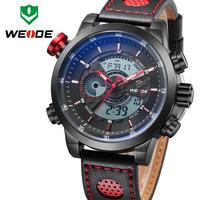 Hot Sale ! Newest WEIDE Top Brand LED Watch Quartz Waterproof Leather Strap Wrist Men's Fashion Casual Military Digital Watch