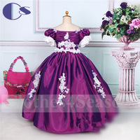 Royal Style Latest Design Handmad Applique Princess Satin Flower Girl Dress 2015 A Line Vestido De Festa Girls Party Dresses