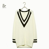 V-neck long Sweater 2color stripe women knitwear Long sleeve clothes spring and Autumn