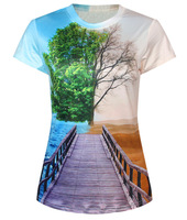 Summer Fashion Tree Sea Women Printed Round Neck Short Sleeve Casual T-Shirt 3D T Shirt for Girls