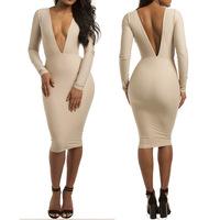 Deep V sexy tight bandage dress after dress nightclub ladies sexy V base
