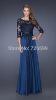 HYL New Elegant Blue A-Line Chiffon Prom Dresses Applique Half Sleeve Floor-Length Formal Evening Dresses Custom Size