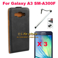 Flip Genuine Leather Case Leather Pouch + Screen Protector +Pen For Samsung Galaxy A3 A300F