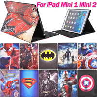 For iPad Mini 1 Mini2 Smart Leather Case Spider-Man Superman Captain America The Avengers Iron Man Batman Folding Cover Magnetic