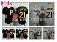 2015 Pittsburgh Pirates Youth Baseball Jersey #25 Gregory Polanco Kids Pirates #22 Andrew McCutchen Baseball Jersey size :S-XL