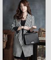 TUCW15005,2014 New argyle coat women,Long overcoat women Turn-down Collar Oversize Warm Wool Jacket Casual Coat Slim Outerwear