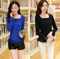 Fast/Free shipping 2015 Plus Size Fashion Korean Spring Casual Blusas Femininas Slim Lace Blouse Women Blouses Clothing C6061