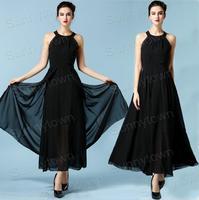 Sale Fashion 2015 Spring Summer Cross Straps Elegant Party Evening Dresses Women Backless Causal Floor-length Maxi Chiffon Dress