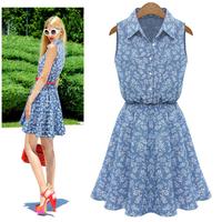 Plus Size 2015 Hot Sale Summer Women Dress Lapel Sleeveless Casual Dresses Slim Denim Dress Women Free Shipping Tonsee 8.5