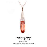 2015 Rock Long Fine Jewelry Elegant Red Stones Love's Gift Vintage Joias Rose Gold Statements  Neckalce Pendants For Women