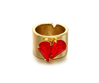 2015ss early spring New Red Heart Love gilded red gem ring Wide